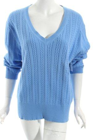 Tommy Hilfiger V-Ausschnitt-Pullover himmelblau Zopfmuster klassischer Stil