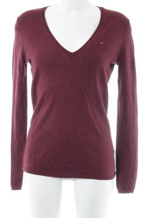 Tommy Hilfiger V-Ausschnitt-Pullover karminrot Casual-Look