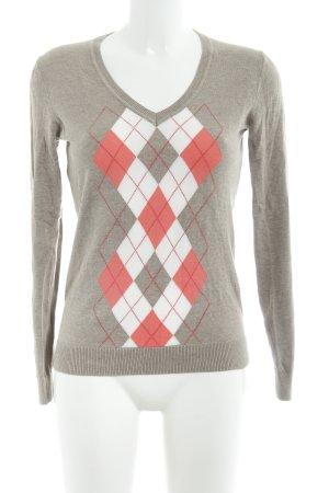 Tommy Hilfiger V-Neck Sweater check pattern embroidered logo