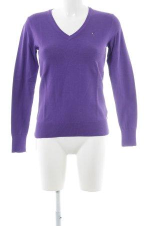 Tommy Hilfiger V-Ausschnitt-Pullover lila Casual-Look