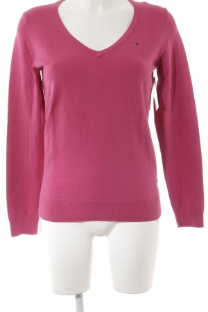 Tommy Hilfiger V-Ausschnitt-Pullover magenta Casual-Look