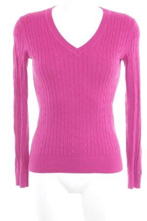 Tommy Hilfiger V-Ausschnitt-Pullover magenta Zopfmuster Casual-Look