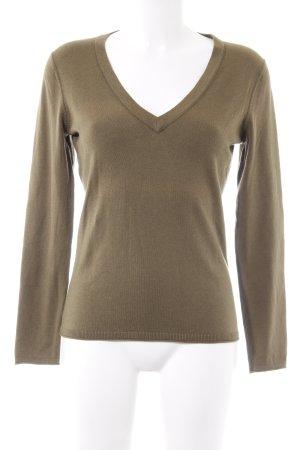 Tommy Hilfiger V-Ausschnitt-Pullover olivgrün Casual-Look