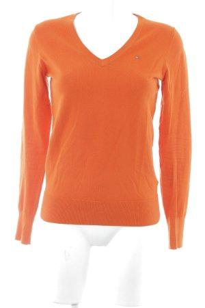 Tommy Hilfiger V-Ausschnitt-Pullover orange klassischer Stil