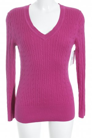 Tommy Hilfiger V-Ausschnitt-Pullover pink Zopfmuster Casual-Look