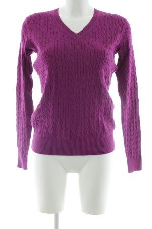 Tommy Hilfiger V-Ausschnitt-Pullover purpur klassischer Stil