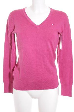 Tommy Hilfiger V-Ausschnitt-Pullover rosa klassischer Stil