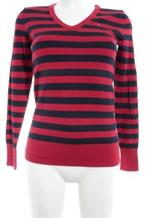 Tommy Hilfiger V-Neck Sweater red-dark blue striped pattern simple style