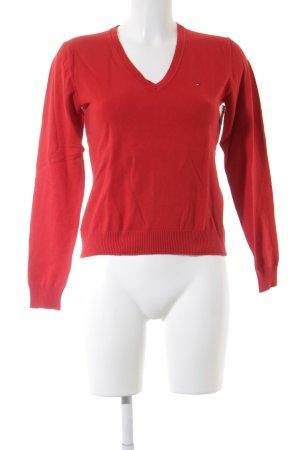 Tommy Hilfiger V-Ausschnitt-Pullover rot klassischer Stil