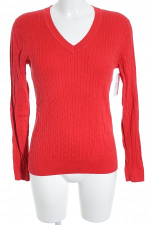 Tommy Hilfiger V-Ausschnitt-Pullover rot Zopfmuster klassischer Stil