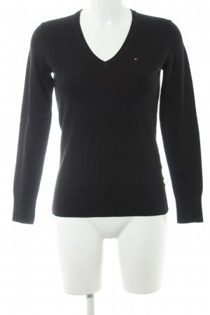 Tommy Hilfiger V-Ausschnitt-Pullover schwarz Business-Look