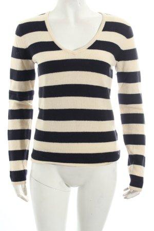 Tommy Hilfiger V-Ausschnitt-Pullover schwarz-creme Streifenmuster
