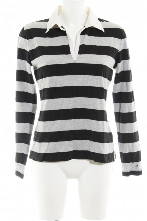Tommy Hilfiger V-Ausschnitt-Pullover schwarz-hellgrau Streifenmuster Casual-Look