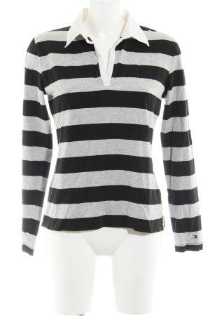 Tommy Hilfiger V-Neck Sweater black-light grey striped pattern casual look