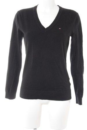 Tommy Hilfiger V-Ausschnitt-Pullover schwarz klassischer Stil