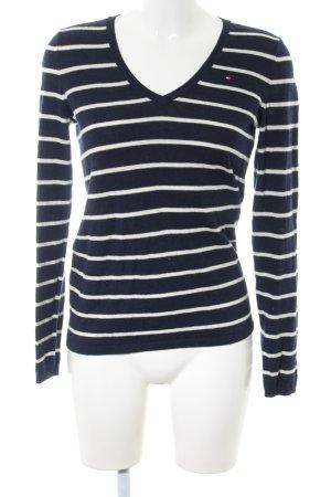 Tommy Hilfiger V-Ausschnitt-Pullover schwarz-weiß Streifenmuster Casual-Look