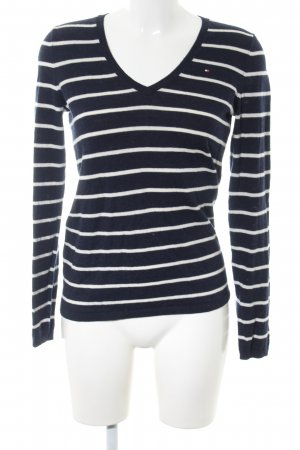 Tommy Hilfiger V-Neck Sweater black-white striped pattern casual look