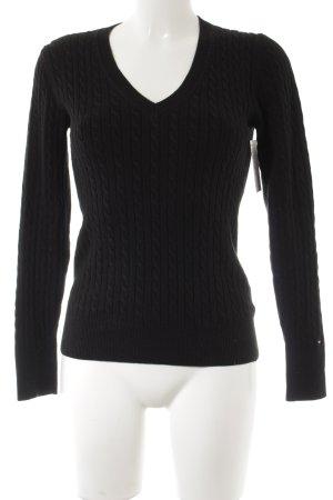Tommy Hilfiger V-Ausschnitt-Pullover schwarz Zopfmuster klassischer Stil