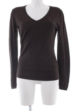 Tommy Hilfiger V-Ausschnitt-Pullover schwarzbraun Casual-Look