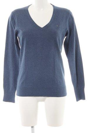 Tommy Hilfiger V-Ausschnitt-Pullover stahlblau Casual-Look