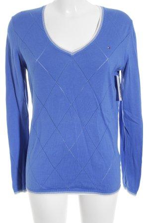 Tommy Hilfiger V-Ausschnitt-Pullover stahlblau-weiß Karomuster Casual-Look