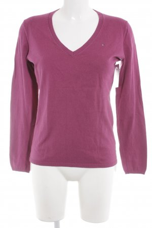 Tommy Hilfiger V-Ausschnitt-Pullover violett Casual-Look