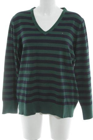 Tommy Hilfiger V-Ausschnitt-Pullover waldgrün-dunkelblau Ringelmuster