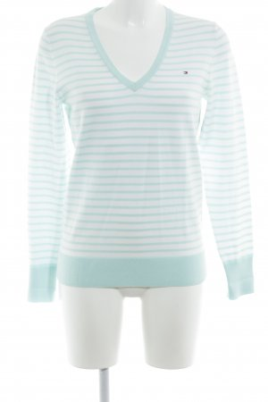 Tommy Hilfiger Pull col en V blanc-bleu clair motif rayé style décontracté