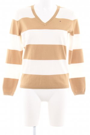 Tommy Hilfiger V-Neck Sweater white-beige striped pattern casual look