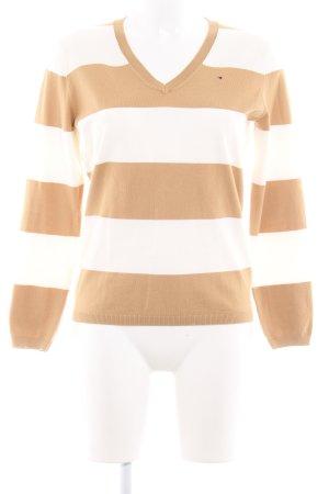 Tommy Hilfiger V-Ausschnitt-Pullover weiß-beige Streifenmuster Casual-Look