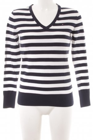 Tommy Hilfiger V-Neck Sweater white-dark blue striped pattern casual look