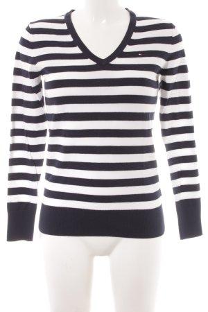 Tommy Hilfiger V-Ausschnitt-Pullover weiß-dunkelblau Streifenmuster Casual-Look