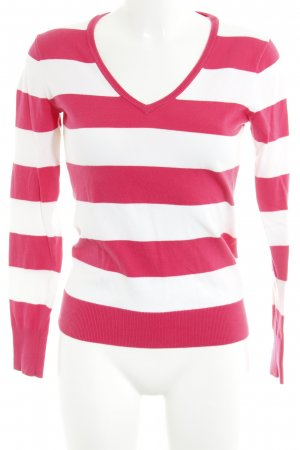 Tommy Hilfiger Pull col en V blanc-magenta motif rayé style décontracté