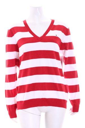 Tommy Hilfiger V-Ausschnitt-Pullover weiß-rot Casual-Look