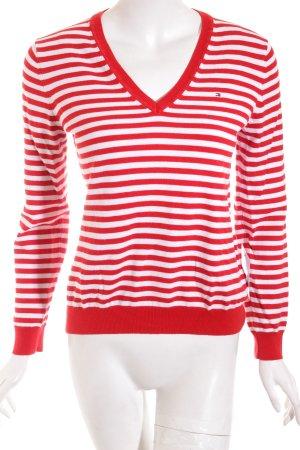 Tommy Hilfiger V-Ausschnitt-Pullover weiß-rot Streifenmuster klassischer Stil