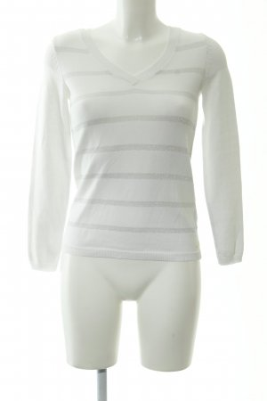 Tommy Hilfiger V-Ausschnitt-Pullover weiß-silberfarben Streifenmuster
