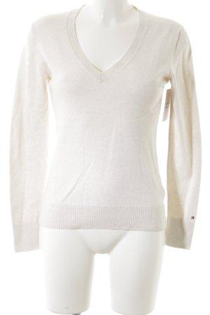 Tommy Hilfiger V-Ausschnitt-Pullover wollweiß schlichter Stil