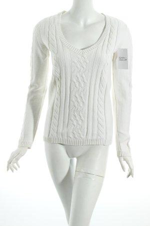 Tommy Hilfiger V-Ausschnitt-Pullover wollweiß Zopfmuster klassischer Stil