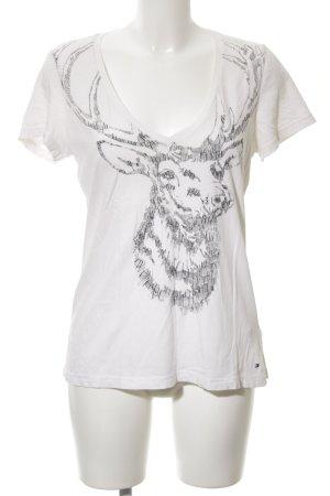 Tommy Hilfiger V-Ausschnitt-Shirt weiß abstraktes Muster schlichter Stil