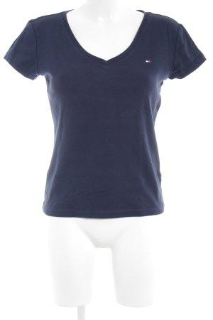 Tommy Hilfiger T-shirt col en V bleu foncé style décontracté