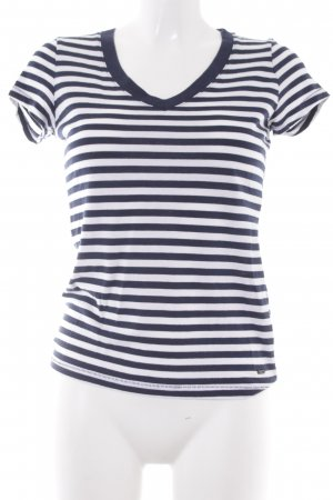 Tommy Hilfiger V-hals shirt donkerblauw-wit gestreept patroon casual uitstraling