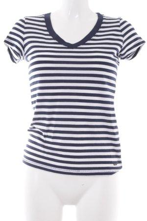 Tommy Hilfiger V-Ausschnitt-Shirt dunkelblau-weiß Streifenmuster Casual-Look
