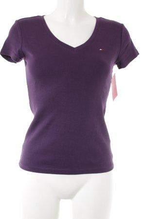 Tommy Hilfiger V-Ausschnitt-Shirt dunkelviolett Casual-Look
