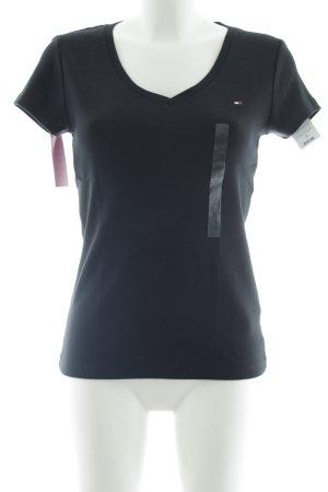 Tommy Hilfiger T-shirt col en V noir style décontracté