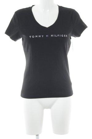 Tommy Hilfiger Camisa con cuello V negro estampado temático look casual