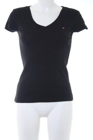Tommy Hilfiger Camisa con cuello V negro estilo sencillo