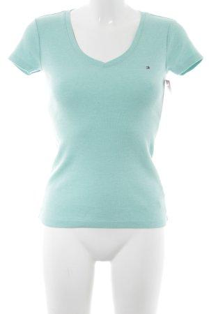 Tommy Hilfiger V-Ausschnitt-Shirt türkis meliert Casual-Look