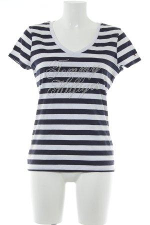 Tommy Hilfiger Camisa con cuello V blanco-azul oscuro estampado a rayas