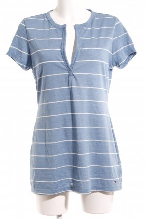 Tommy Hilfiger V-Neck Shirt natural white-steel blue athletic style