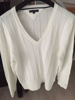 Tommy Hilfiger V-Neck Sweater white cotton